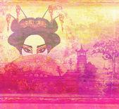 Abstract Beautiful geisha Portrait — Stock Photo