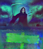 Scary grim reaper in the light of the moon — Stock Photo