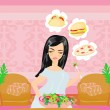 Overweight girl eats a salad but dreams of eating fast food — Stock Vector
