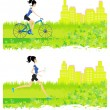 Stock Vector: Running and cycling girl