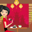 Beautiful girl enjoy sushi — Stock Vector #29727855