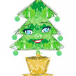 Christmas tree cartoon character — Image vectorielle
