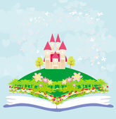 Magic world of tales, fairy castle appearing from the book — Stock Vector