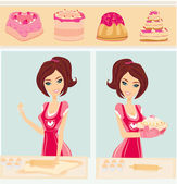 Housewife bakes cakes and cookies — Stock Vector