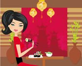 Beautiful girl enjoy sushi — Stock Vector