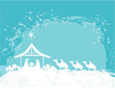 Christian Christmas nativity scene of baby Jesus in the manger — Stock Vector