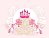 Abstract image of a pink castle and unicorns — Vetorial Stock