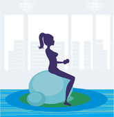 Girl exercising pilate in a gym — Stock Vector
