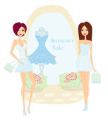 Fashion girls Shopping - Summer shopping sale — Stock Vector