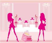 Fashion girls shopping in shoe shop — Stock Vector