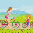 Mother and daughter biking in the park — Stock Vector #30332795