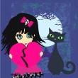 Sad emo girl and her cat. — Stock Vector