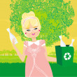 Old lady recycling plastic bottles — Stock Vector