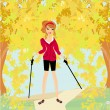 Stock Vector: Nordic walking - active womexercising outdoor