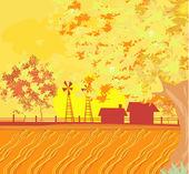Rolnictwo ekologiczne - piękny wektor jesień krajobraz — Wektor stockowy