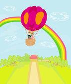 Family flying a hot air balloon over the rainbow — Stock Vector