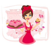 Saleswoman serving chocolate cakes — Stock Vector