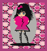 Tatlı emo kız — Stok Vektör