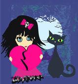 Emo triste menina e seu gato. — Vetorial Stock