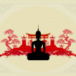 Silhouette of a Buddha,Asian landscape in the background — Imagen vectorial