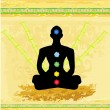 Yoga lotus pose. Padmasana with colored chakra points. — Stock Vector
