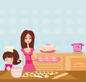 Happy daughter helping her mother cooking in the kitchen — Stock Vector