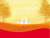 Crosses on a hill at sunset vector background concept landscape — Stock Vector