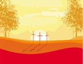 Kruist op een heuvel bij zonsondergang vector achtergrond concept landschap — Stockvector