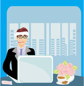 Workaholic sick in the office — Stock Vector