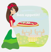Smiling waitress serving pizza — Stock Vector