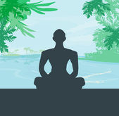 Yoga meditation silhouette by man at palms, ocean and sunset sky — Stock Vector