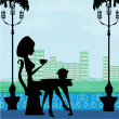 Silhouette of beautiful woman in cafe — Imagens vectoriais em stock