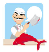Japanese fishmonger butcher chef cook with knife holding red fis — Stock Vector