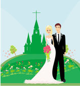 Wedding couple in front of a church — Stock Vector