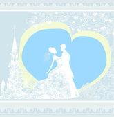 結婚式のカップルと教会の背景 — ストックベクタ