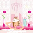 Woman washing hair in bubble bath.  — Stock Vector