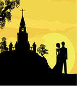 Sunshine church and wedding couple — Stock Vector