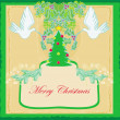 Christmas card with doves and mistletoe — Stock Vector