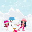 Kid making happy  snowman — Stock Vector