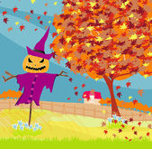 Halloween scarecrow, Autumn rural landscape — Stock Vector