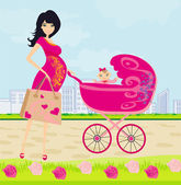 Beautiful pregnant woman pushing a stroller with her daughter — Stock Vector