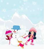 Kid making happy snowman — Vector de stock