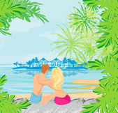 Couple on tropical beach — Stock Vector