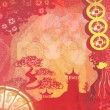 Stock Photo: Decorative Chinese landscape card