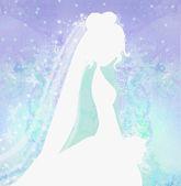 Elegant bride in big white dress - silhouettes illustration — Stock Photo