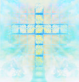 Glass cross in sky — Stockfoto