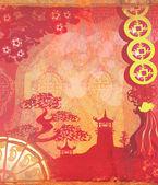 装飾的な中国の風景カード — ストック写真