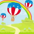 Stock Vector: Hot Air Balloons of 4 of July in Flight