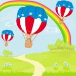 4 lipca w Lot balonów na ogrzane powietrze — Wektor stockowy