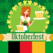 Pretty waitress with beer, Oktoberfest card — Stock Vector
